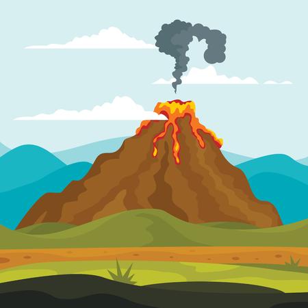Volcano eruption lava earthquake banner concept. Flat illustration of volcano eruption lava earthquake banner concepts for web