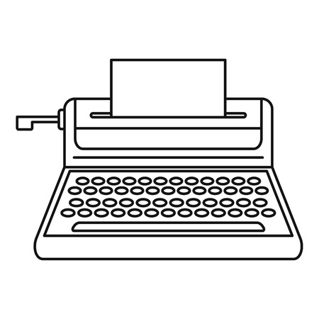 Small typewriter icon. Outline illustration of small typewriter icon for web design isolated on white background
