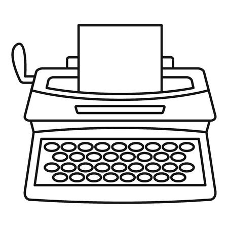 Vintage typewriter icon. Outline illustration of vintage typewriter icon for web design isolated on white background