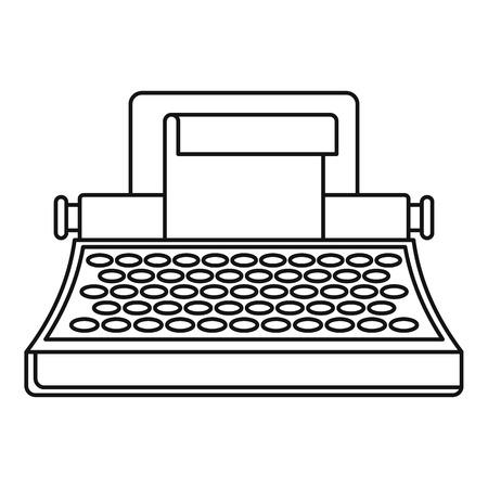 Retro typewriter icon. Outline illustration of retro typewriter icon for web design isolated on white background Stock Photo