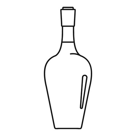 Wine bottle icon, outline style