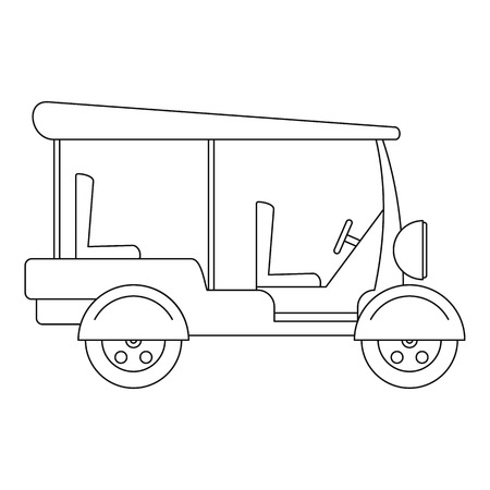 Taxi rickshaw icon. Outline illustration of taxi rickshaw icon for web design isolated on white background Banco de Imagens