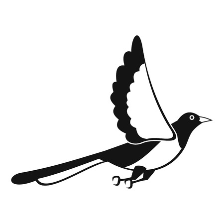Magpie fly icon. Simple illustration of magpie fly icon for web design isolated on white background