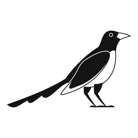 Cute magpie icon, simple style