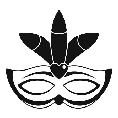Carnival mask icon, simple style