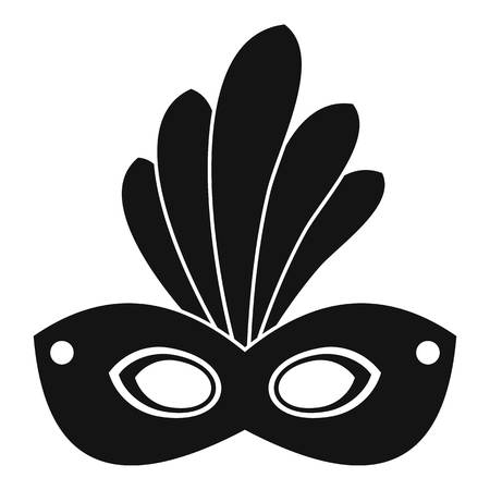 Brazil carnival mask icon, simple style