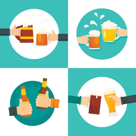 Beer cheers bottles glass banner set, flat style