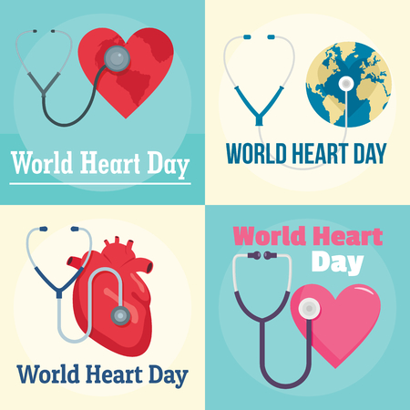 World Heart Day world banner set, flat style