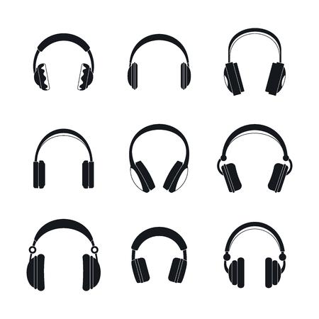 Headphones music speakers icons set, simple style