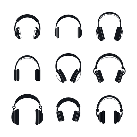 Headphones music speakers icons set, simple style