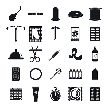Contraception Day control icons set, simple style Illustration