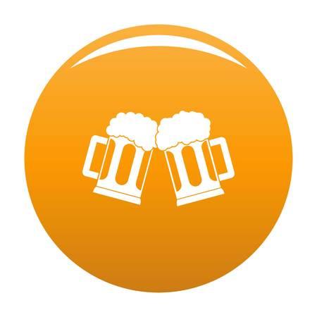 Beer mug icon vector orange