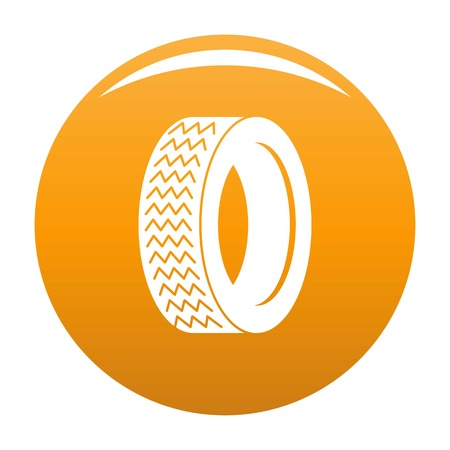 Machine tire icon vector orange Illustration