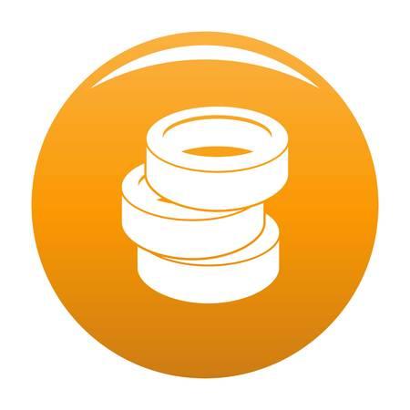 Stack of tire icon vector orange