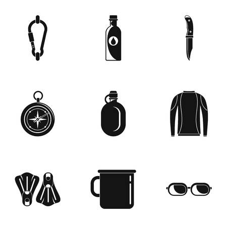 Tourism icons set. Simple set of 9 tourism vector icons for web isolated on white background Çizim