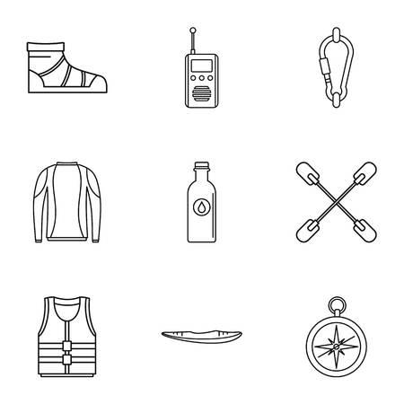 Symbole für die Tourismusbranche eingestellt. Einfacher Satz von 9 Tourismusindustrie-Vektorikonen für das Netz lokalisiert auf weißem Hintergrund