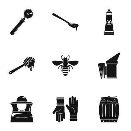 Honey business plan icons set. Simple set of 9 honey business plan vector icons for web isolated on white background