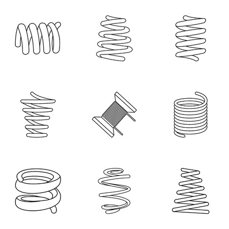 Skein icons set. Isometric set of 9 skein vector icons for web isolated on white background Illustration