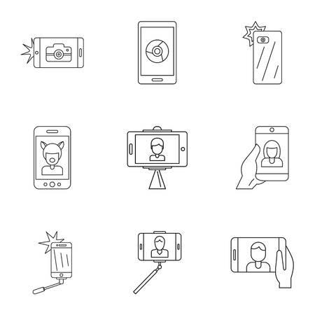 Pix icons set. Outline set of 9 pix vector icons for web isolated on white background Ilustração