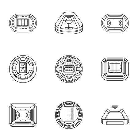Stadia icons set. Outline set of 9 stadia vector icons for web isolated on white background