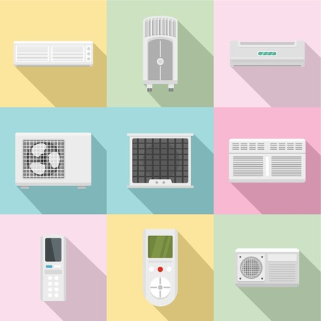 Monitoring equipment icons set. Flat set of 9 monitoring equipment vector icons for web isolated on white background Illustration