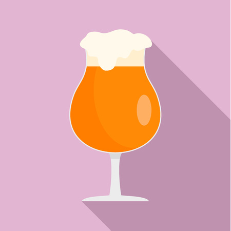 Round glass of beer icon. Flat illustration of round glass of beer vector icon for web design Ilustrace