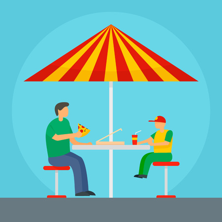 Father and son eat pizza background. Flat illustration of father and son eat pizza vector background for web design