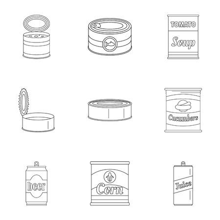Ensemble d'icônes conservées. Ensemble de contour de 9 icônes vectorielles préservées pour le web isolé sur fond blanc Vecteurs