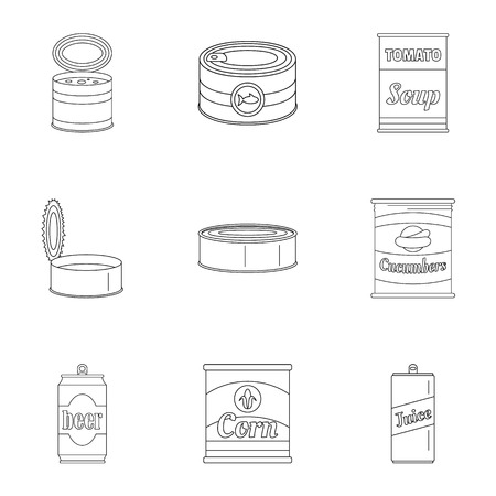 Preserved icons set. Outline set of 9 preserved vector icons for web isolated on white background