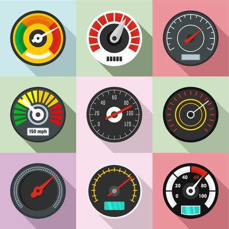 High speed icons set. Flat set of 9 high speed vector icons for web isolated on white background