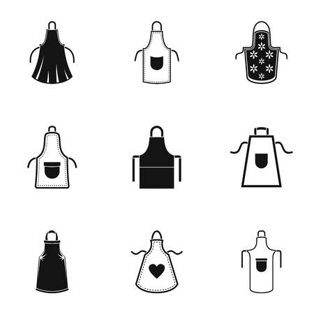 Pinafore icons set. Simple set of 9 pinafore vector icons for web isolated on white background Illustration