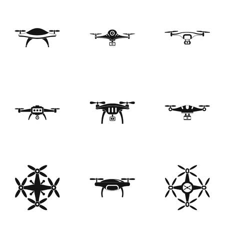 Unmanned icons set. Simple set of 9 unmanned vector icons for web isolated on white background