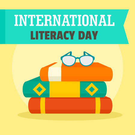 Set books literacy day background. Flat illustration of set books literacy day vector background for web design