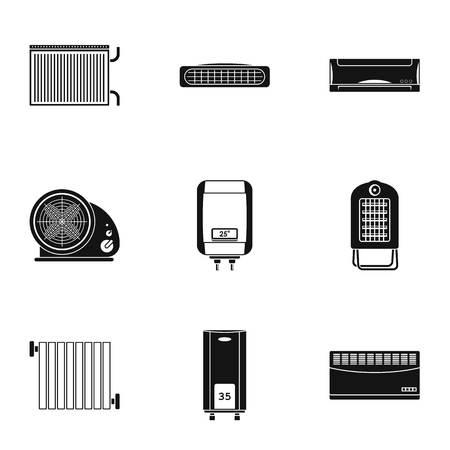 Preheat icons set. Simple set of 9 preheat vector icons for web isolated on white background Ilustração