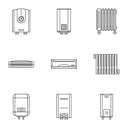 Aufwärmen Symbole gesetzt. Umrisssatz von 9 Aufwärmvektorikonen für das Netz lokalisiert auf weißem Hintergrund Vektorgrafik