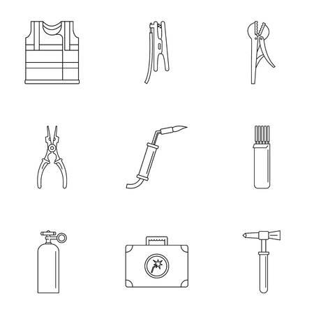 Ensemble d'icônes de l'industrie du génie électrique. Ensemble de contour de 9 icônes vectorielles de l'industrie du génie électrique pour le web isolé sur fond blanc Vecteurs