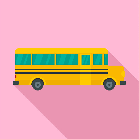 Side of school bus icon. Flat illustration of side of school bus vector icon for web design