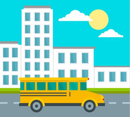 School bus driving school background. Flat illustration of school bus driving school vector background for web design