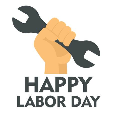 Happy labor day key in hand logo icon. Flat illustration of happy labor day key in hand vector logo icon for web design isolated on white background Illustration