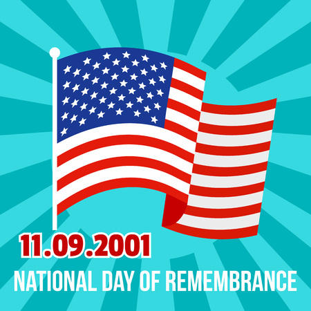 National remembrance american day background. Flat illustration of national remembrance american day vector background for web design