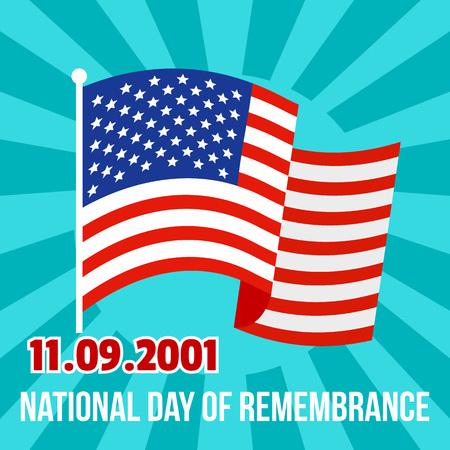 Tło amerykańskiego dnia pamięci pamięci narodowej. Płaskie ilustracja narodowej pamięci dzień amerykański tło wektor dla projektowania stron internetowych
