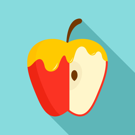 Honey on red apple icon. Flat illustration of honey on red apple vector icon for web design