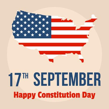 Fondo feliz del día de los estados unidos de la constitución. Ilustración plana de fondo de vector de feliz día de la constitución de estados unidos para diseño web