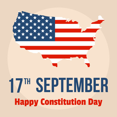 Happy constitution usa day background. Flat illustration of happy constitution usa day vector background for web design Illustration