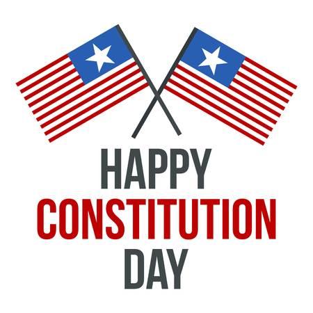 Icona del logo del giorno della costituzione della bandiera americana. Illustrazione piana della bandiera americana giorno della costituzione vettore icona logo per il web design isolato su sfondo bianco