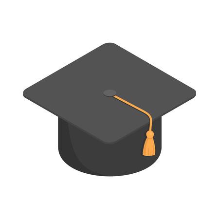 Icono de gorra negra de la escuela de posgrado. Isométrica de la escuela de posgrado de tapa negra icono vectoriales para diseño web aislado sobre fondo blanco.