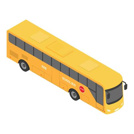Europe school bus icon. Isometric of europe school bus vector icon for web design isolated on white background Illustration