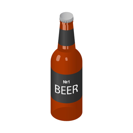 Brown bottle of beer icon. Isometric of brown bottle of beer vector icon for web design isolated on white background Illustration