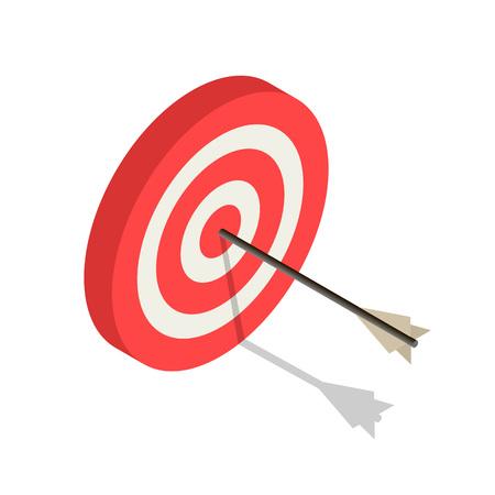 Icona di destinazione arco bianco rosso. Isometrica dell'icona di vettore di destinazione arco bianco rosso per il web design isolato su sfondo bianco Vettoriali