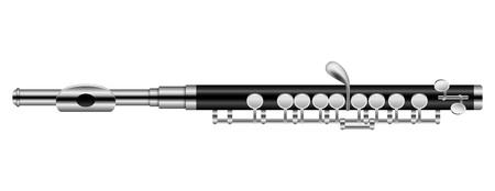 Maquette moderne de flûte musicale. Illustration réaliste de la maquette de vecteur de flûte musicale moderne pour la conception web isolé sur fond blanc